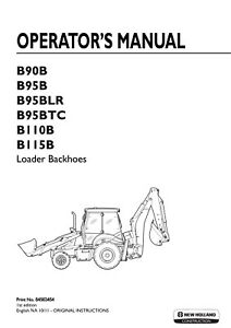 NEW HOLLAND B90B B95B B95BLR B95BTC B110B B115B LOADER