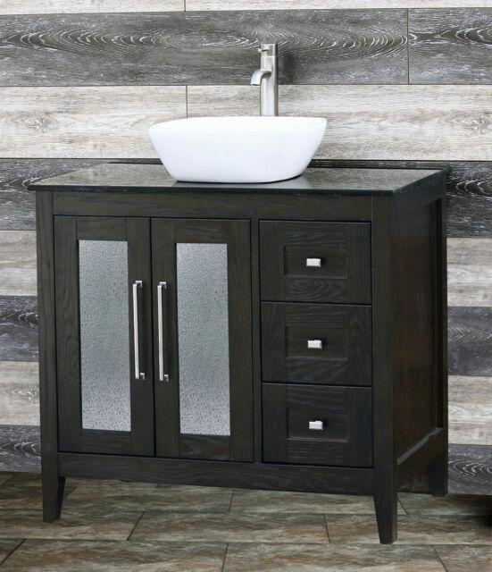 36 Bathroom Vanity 36 Inch Cabinet Black Granite Top Vessel Sink Faucet A36e Bk For Sale Online