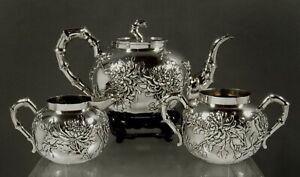 Chinese Export Silver Tea Set c1890 Wang Hing