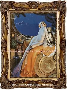 ART DECO BLONDE WOMAN LEOPARD EGYPTIAN PYRAMIDS Exotic