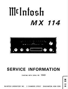 McIntosh mx-114, mx-115 Schematic Service Manual Repair