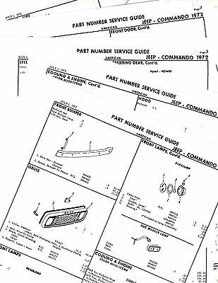 1972 JEEP COMMANDO 72 BODY PARTS LIST PARTS NUMBERS CRASH