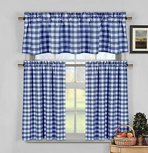 blue kitchen valance rustic sinks lovemyfabric gingham checkered plaid design 3 piece image is loading