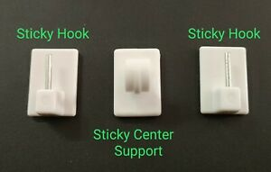 details about self adhesive sticky net rod hooks stick on window hooks for net curtain rods