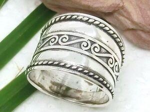 Breiter Silber Ring 925 mit Spiralen Silberring Spirale  eBay
