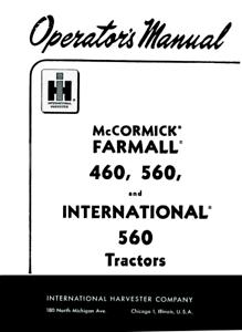 INTERNATIONAL FARMALL GAS 460 560 TRACTOR OPERATORS OWNERS