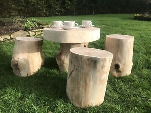 details about rustic wood log garden table and stools fairy garden furniture patio furniture