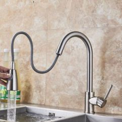 Brushed Nickel Kitchen Faucet With Sprayer Model Homes Pictures Pull Out Single Hole Swivel Image Is Loading