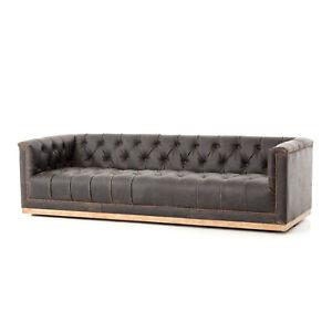 long sofas leather j m furniture premium sleeper sofa 95 distressed top grain weathered oak base modern image is loading