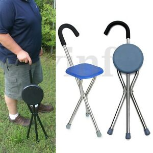 Lightweight Folding Tripod Cane Hiking Chair Portable