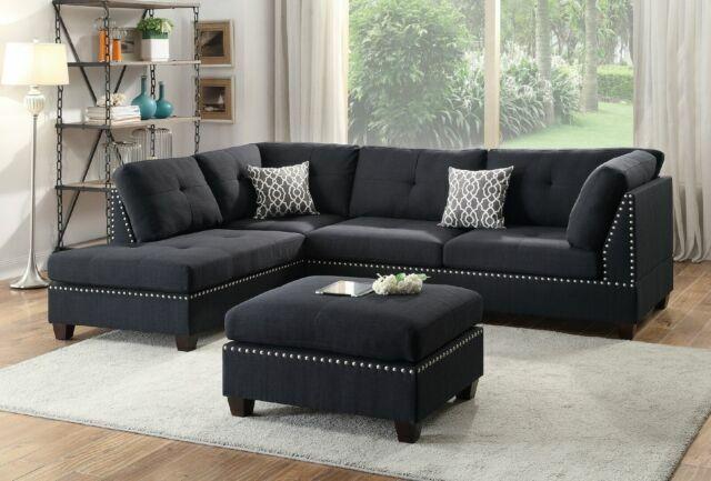 sofa reversible chaise ottoman 3pcs sectional black linen fabric plush seat