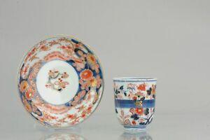 18C Japanese Porcelain Cup / Chocolate Beaker Saucer Imari Edo Period [:...