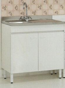 Base sottolavello cucina 120x50xH85 in legno con lavello a ...