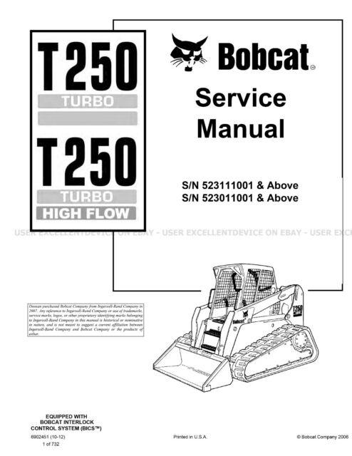 Bobcat T250 Turbo & HF Track Loader Printed Service Manual