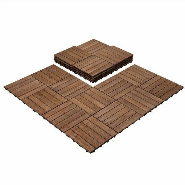 yaheetech interlocking patio deck tiles 12 x 12in 27pcs wood floor tiles outdoor flooring for sale online ebay