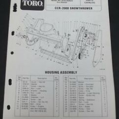 Toro Ccr 2000 Parts Diagram Vauxhall Astra H Towbar Wiring Snowthrower Catalog Manual Model 38180 Serial Image Is Loading