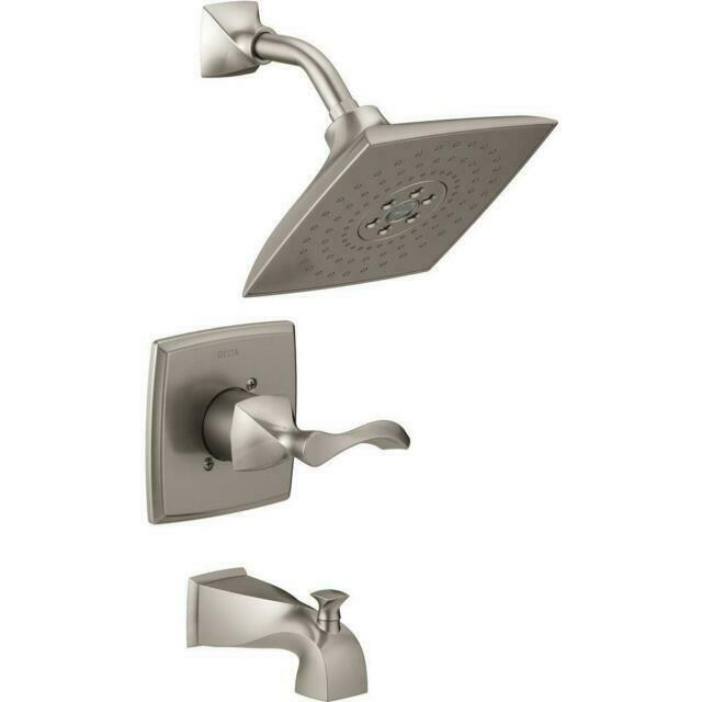 delta everly h2okinetic single handle 3 spray tub and shower faucet brushed nickel