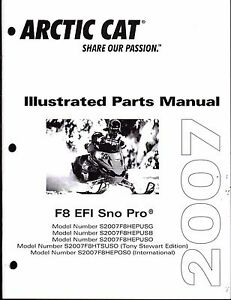 2008 ARCTIC CAT F8 EFI SNO PRO SNOWMOBILE PARTS MANUAL NEW