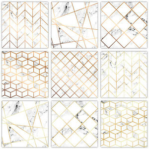 details about mosaic tile stickers transfers modern white marble gold copper effect t22