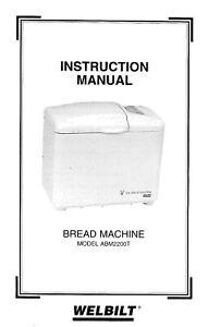 Welbilt ABM2200T Bread Machine Operator Instruction Maint