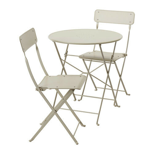 ikea folding chair wooden low chairs babies saltholmen outdoor table and 2 patio balcony bistro beige ebay