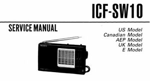 SONY ICF-SW10 SERVICE MANUAL BOOK INC SCHEMATIC ENGLISH