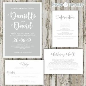 Details About Personalised Luxury Grey White Modern Wedding Invitations Packs Of 10