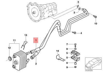 Genuine BMW E53 X5 SUV Transmission Oil Cooler Line Flow