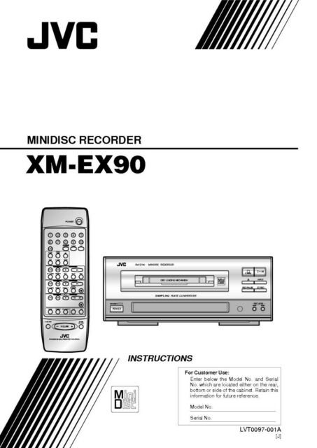 JVC XM-EX90 Minidisc Recorder Owners Instruction Manual