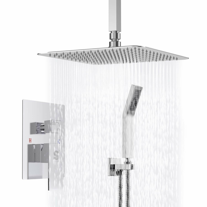 Ceiling Mount 16 Inch Rain Shower Head Shower Combo Set System Hand Shower Tap