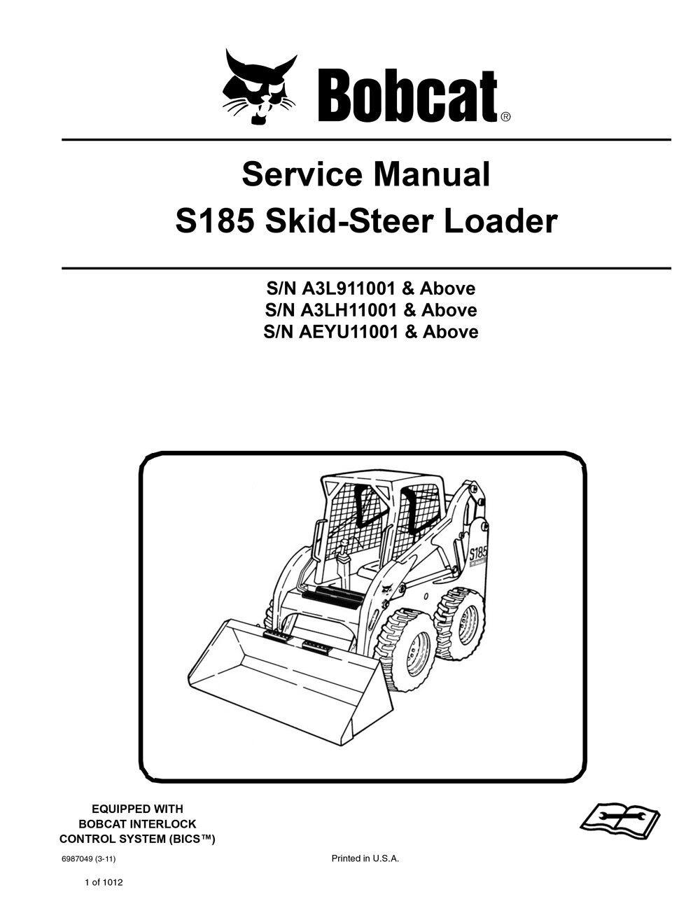 hight resolution of new bobcat s185 skid steer loader 2011 edition service repair manual 6987049 image