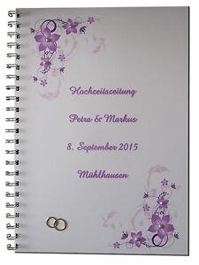 Hochzeitszeitung Festzeitung Hochzeit Geschenk Ehe Ringe Brautpaar  Blumen lila  eBay