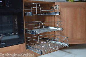 pull out kitchen cabinet wine decorations for wire basket base unit larder image is loading