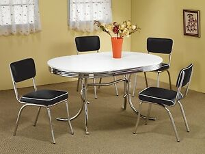 retro dining room table and chairs mini beach chair picture frames 1950s style chrome set black image is loading