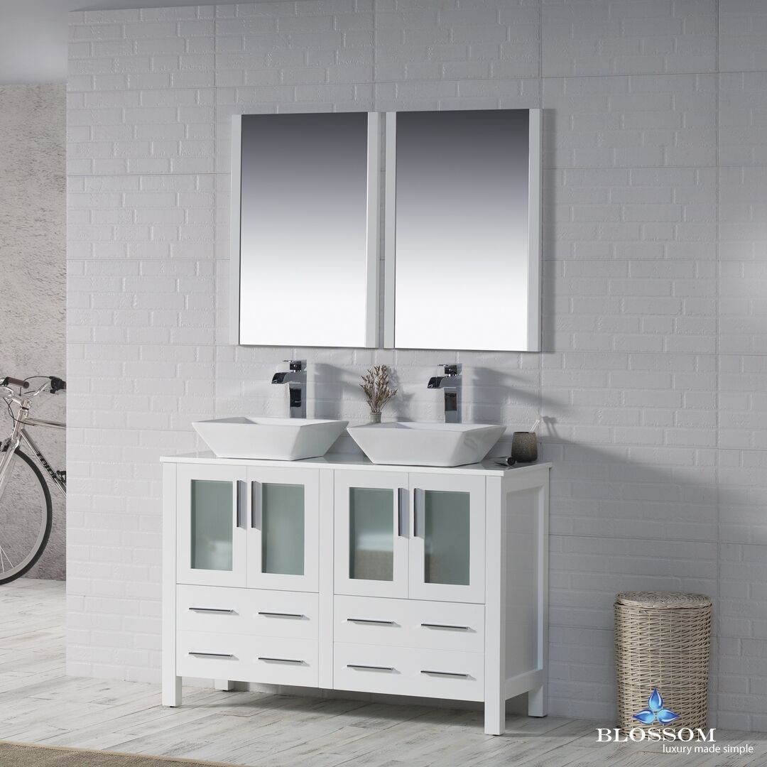 BLOSSOM 48 SYDNEY DOUBLE SINK BATHROOM VANITY WITH VESSEL