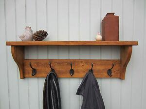 Rustic Pine Hat Coat Rack Shelf 2 3 4 5 6 7 Hooks Also