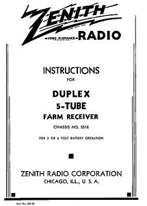 Owners Manual Reprint Zenith 5 Tube Farm Receiver Chassis