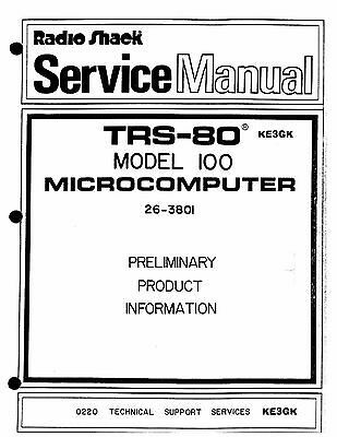 Radio Shack TRS-80 Model 100 Service Manual * PDF * CDROM