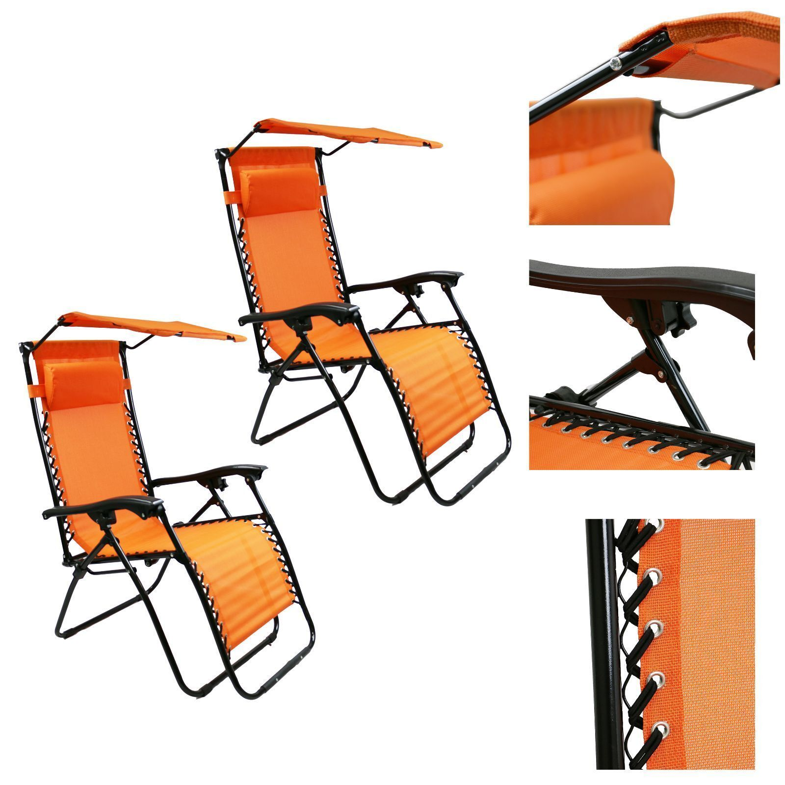 Folding Lounge Chairs 2pc Lounge Patio Chairs Outdoor Yard Zero Gravity Folding