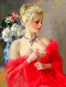 Blonde Painting : blonde, painting, Beautiful, Blonde, Painting, Printed, Canvas, L1546