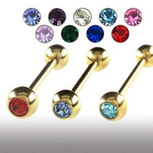 1,6mm Gold Piercing Barbell Kugel mit Kristall Zungen Piercing Stab Stecker