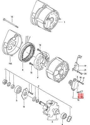 Genuine Volkswagen Set Carbon Brushes NOS Dasher Ghia