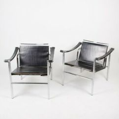 Le Corbusier Chair White Side Chairs 1960 S Vintage Pair Lc1 Stendig Basculant Thonet Image Is Loading 039