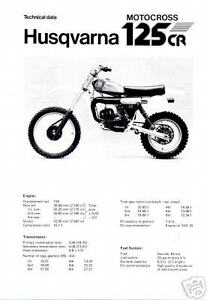 HUSQVARNA Brochure 125CR Motocross 1980 VMX Sales Catalog