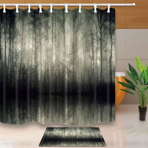 details about black and gray gothic forest bathroom waterproof fabric shower curtain 12 hooks