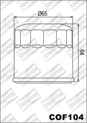 COF104 Oil Filter CHAMPION Yamaha XVS950 CT V-Star Tourer