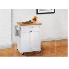 White Kitchen Island Cart Amazon Undermount Sink Trolley Wood Rolling Storage Cabinet Utility Prep Top