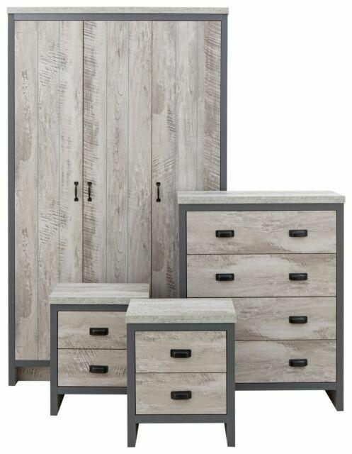 gfw boston bos4pcgry 4 piece bedroom furniture set grey
