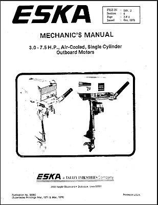 Eska Outboard Workshop REPAIR Manual Air-Cooled Single 3.0