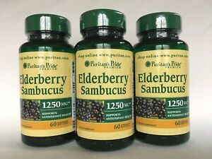 3 Puritan's Pride Elderberry Sambucus 1250 mg *** Made In ...